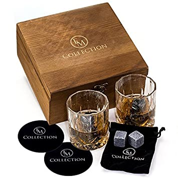 Whiskey Stones Gift Set w 8 Granite Whiskey Rocks,2 Crystal Whiskey Glasses Velvet Bag by EMcollection Reusable Cooling Ice Cubes Chill Your Scotch Cold Drinks Packed in Elegant Wooden Box