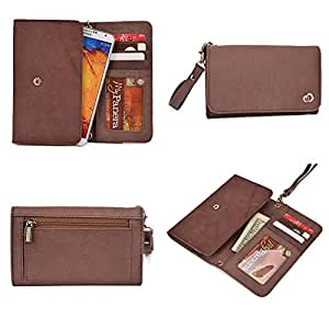 Dell Mini 5 Wallet Wristlet Clutch With Hand Strap and Credit Card Slots| Genuine Leather: Roasted Brown