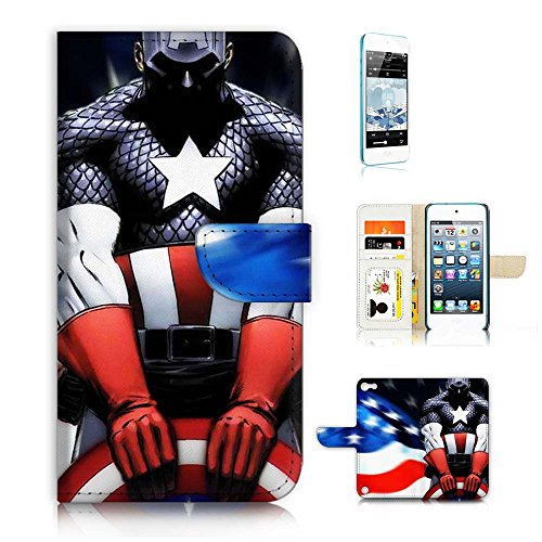 ( For ipod 5, itouch 5, touch 5 ) Flip Wallet Case Cover & Screen Protector Bundle! A20040 Captain America