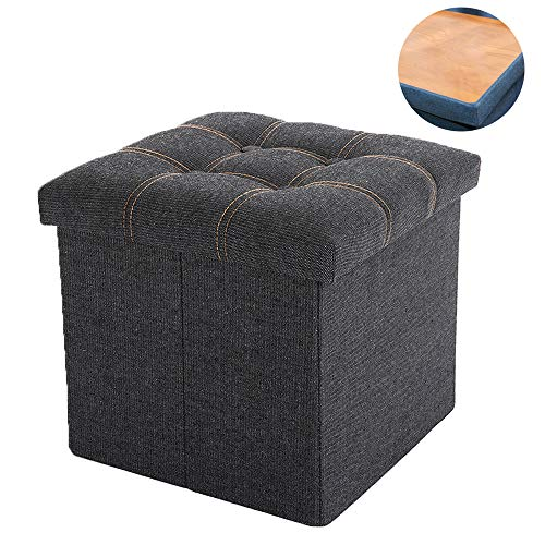 WALTSOM Folding Storage Ottoman, Cube Footrest Seat Stool Coffee Table with Hidden Tray, Soft Padding for Home and Office, 15