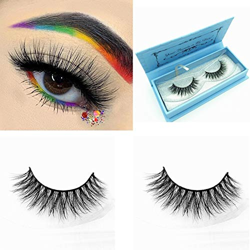 Miss Kiss 3D Mink Lashes Reusable Strip,100% Siberian Mink Fur False Eyelashes Hand-made Natural Style Cruelty Free 1 Pair Eye Lash Package (3D04)]()