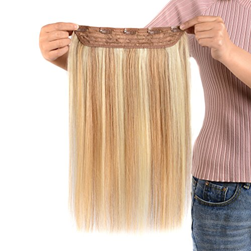 - Winsky Clip in Real Hair Extensions Human Hair 5clips 50g - One Piece Soft Straight 3/4 Full Head Hair Pieces for Women (14inch, Ash Blonde to Bleach Blonde #18-613 Color)