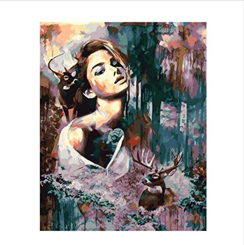 CZYYOU Bild Schönheit Schönheit Schönheit Dame DIY Malen Nach Zahlen Bunte Bild Home Decor Für Wohnzimmer Hand Einzigartige Geschenke 40x50cm -Rahmenlos B07P5ST1MF | Elegantes und robustes Menü  281ed4