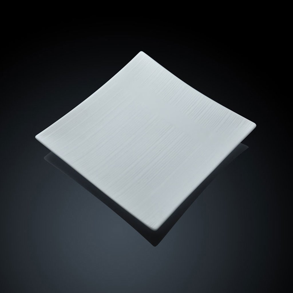 Xing Hua Shop Kitchen & Bar Sinks Kitchen Sinks Thick Ceramic Square Plate Western Plate Household Plate Pure White Square Plate European Western Steak Plate Single Bowl (Size : 16 inches)