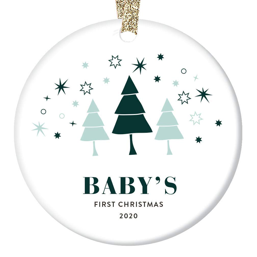 Amazon Com Baby S First Christmas Ornament 2020 Congratulations Baby Shower Gift Ideas Newborn Boy Girl 1st Holiday Present New Mommy Daddy Family Keepsake Cute Whimsical 3 Flat Circle Ceramic Tree Decoration Handmade