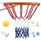 LAO XUE Heavy Duty 21inches Standard Basketball Nets, Rainproof Sunscreen for All-Weather Thick Nets,12 Loops for Indoor and Outdoor Professional Competitions Replacement Net