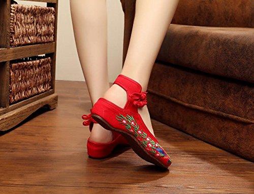 Ballerine comodi Scarpe singole tendine red scarpe etnico unico Scarpe donna ballo da moda ricamate femaleshoes Chnuo scarpe stile di A6fqt
