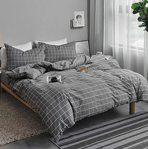 Hemau Twin Bedding Set Grid, 2 Piece - 1000 - TC Hypoallergenic Microfiber Down Comforter Plaid Quilt Cover with Zipper Closure, Ties - Best Modern Style for Men and Women ()