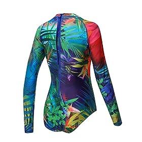 - 517CTKIr 2BNL - AXESEA Womens Long Sleeve Rash Guard UV UPF 50+ Sun Protection Printed Zipper Surfing One Piece Swimsuit Bathing Suit