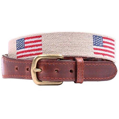 (American Flag Needlepoint Belt in Light Khaki by Smathers &)