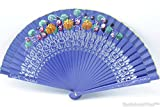hand painted spanish fan - Quality Spanish Flamenco Vintage Both Side Hand Painted Dance Wooden Folding Hand Held Fan (Blue)