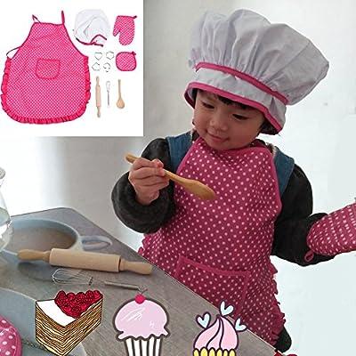 FTVOGUE Enfants Chef Set DIY Cuisine Cuisson Costume Jouets Set Faire Semblant Jouer des V/êtements Tablier Gants Chapeau Cuisini/ère