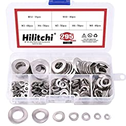 Hilitchi 295-Pcs 304 Stainless Steel Spr...