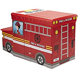 Mind Reader FIRESTOOL-RED Children's Favorite Cartoon Storage Stool/Chair Fire Fighter Vehicle, Red