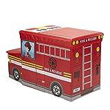 Mind Reader FIRESTOOL-RED Children's Favorite Cartoon Storage Stool/Chair Fire Fighter Vehicle, Red