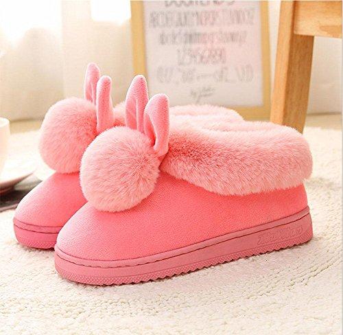 dérapant maison à EU40 41 à coton hauts chaussures Hiver femmes en pantoufles anti mois talons épais intérieur talons 4fqgAP