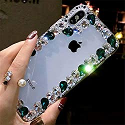 Border Blue Rhinestone With TPU Case for iPhone