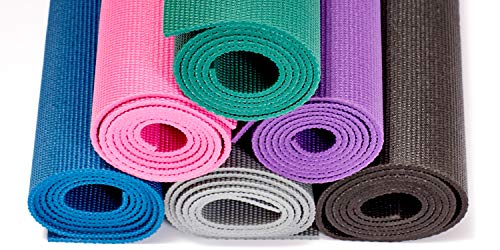 Gaiam Essentials Premium Yoga Mat with Yoga Mat Carrier Sling, Purple, 72L x 24W x 1/4 Inch Thick