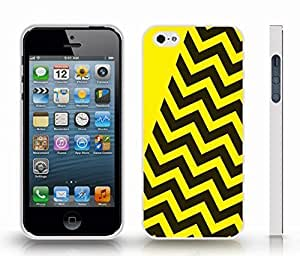 Case For Sam Sung Galaxy S5 Cover with Chevron Pattern Black/ Yellow Pattern Stripe , Snap-on Cover, Hard Carrying Case (White)