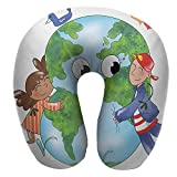 "Anyangeight Travel u-Shaped Pillow,11.8""x11.8"" Two Cute Kids Hugging Happy Planet Earth Bird"