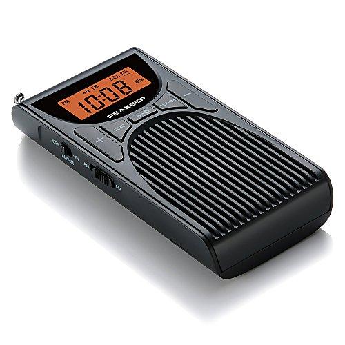 PEAKEEP Portable Pocket AM FM Clock Radio with Speaker and Earphone Jack, Beep Alarm Clock