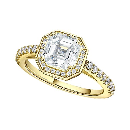 NaNa Asscher Cut Halo Engagement Ring -Yellow Gold Pated-Size 7 (Signity Cubic Zirconia Stone)
