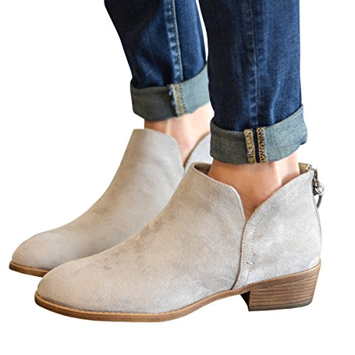 Faux Zip Ankle Booties Heel Bootie beoge Closed Chunky Toe Low Womens Side Stacked 3 8w5RTxqxH