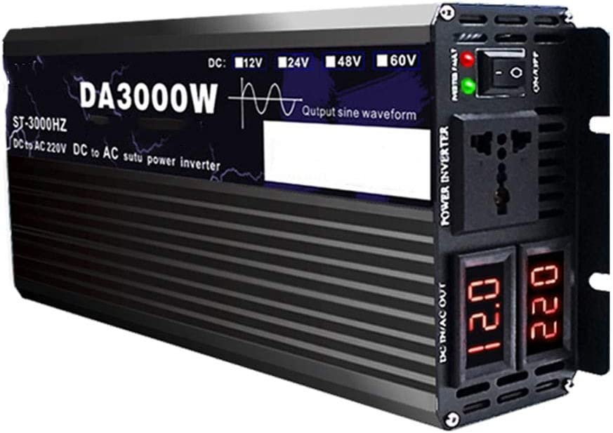 El Nuevo Pure Sine Wave Power Inverter, LCD Screen 12v/24v To200v 3000w/4000w/5000w/6000w/8000w/12000w/16000w Converterintelligent Digital Display Screen Adapter (Power : 3000W-220V12V)