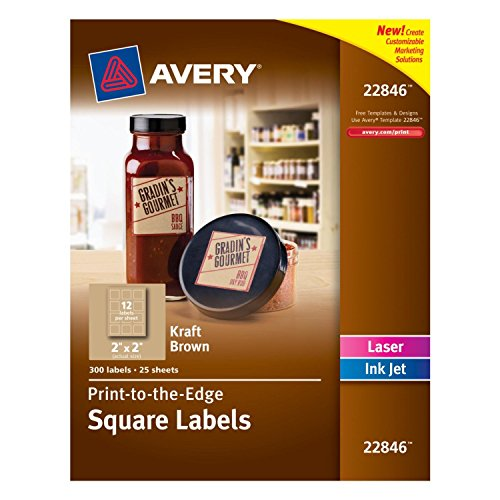 Avery Print-to-the-Edge Square Labels, Kraft Brown, 2 x 2 Inches, Pack of 300 (22846) 2-PACK ()