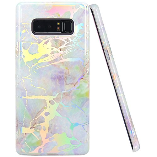 JIAXIUFEN Shiny Change Color Opal Colorful Marble Design Clear Bumper TPU Soft Rubber Silicone Cover Phone Case for Samsung Galaxy Note 8
