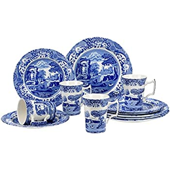 Spode Blue Italian 12 Piece Set  sc 1 st  Amazon.com & Amazon.com: Johnson Brothers 2425625405 Old Britain Castles 20-Piece ...
