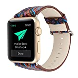 For Apple Watch Band,Voberry Premium Leather Replacement Strap for Apple Smart Watch 42mm (blue)