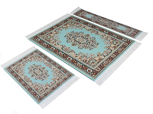 Set Blue Turquoise Woven Rug Mouse Pad + Rug Coaster + Rug Bookmark - Oriental Style Carpet Mousemat Miniature Rug