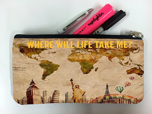 World Travel Map Atlas Quote Printed Design Student Pen Pencil Case Coin Purse Pouch Cosmetic Makeup (Atlas Pen And Pencil)