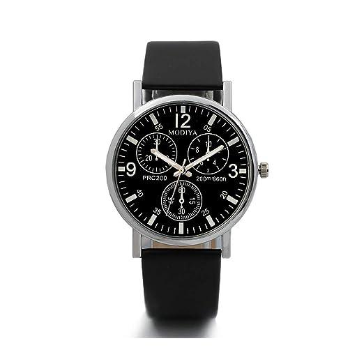Gusspower Reloj de Cuarzo para Hombre, Esfera Redonda, Correa de Cuero, Reloj de