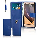 32nd® Book wallet PU leather case cover for Huawei Nexus 6P (2015), including touch stylus - Deep Blue