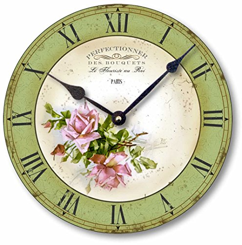 Item C2016 Vintage Style 10.5 Inch Pink Roses French Florist Clock