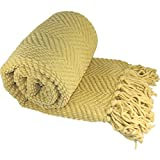 """BOON Knitted Tweed Throw Couch Cover Blanket, 50"""" x 60"""", Jo Joba Yellow"""