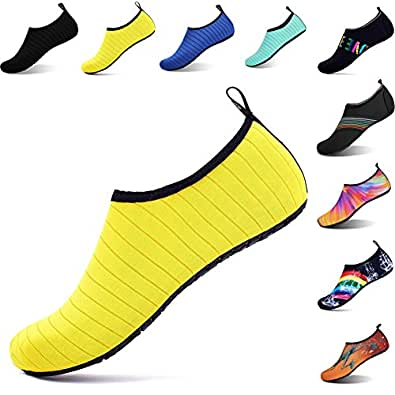 OOLIVUPF Water Sports Shoes Barefoot Beach Pool Shoes Quick Dry Aqua Yoga Socks for Men Women Yellow 36/37