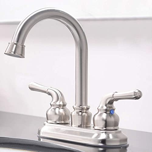 VCCUCINE Commercial Contemporary Brushed Nickel Two Handle Bathroom Sink Faucet, Without Pop Up Drain and Hot Cold Water Hose