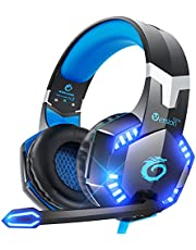 VersionTECH. G2000 Stereo Gaming Headset for PC, Xbox One, PS4, PS5 Wired Gaming Chat Headphones with 3D Surround Sound, Noise-Cancellation Microphone,Volume Control & LED Lights