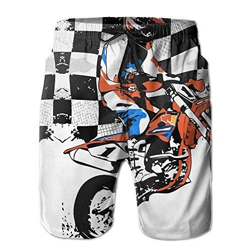 (WeiGin Supermoto Racing Men's Pocket Swim Trunks Lightweight Quick Dry Beach Board Shorts Large)