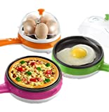 PETRICE 2-In-1 Multi-functional Electric Mini Egg Boiler Poacher Steaming Device