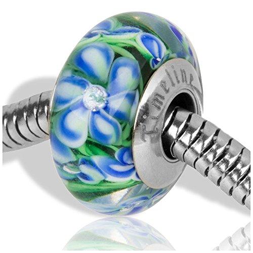 Blue Hydrangea Rhinestone Flower Charm for European Charm Bracelets Lampwork Glass Stainless Steel