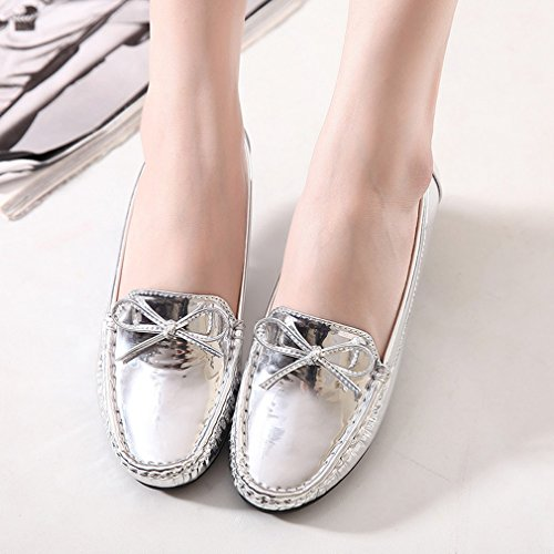 CYBLING Casual Slip On Bowknot Loafers Shoes for Women Outdoor Walking Soft Soled Flats Silver ULj7WlA