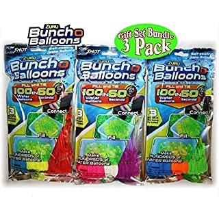 JATEN for Zuru Bunch O Balloons Instant 100 Self-Sealing Water Balloons Complete Gift Set Bundle, 3 Packs(300 Balloons Total)