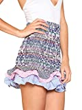 Floerns Women's Striped Tiered Ruffle Hem Smock Skirt Multi L