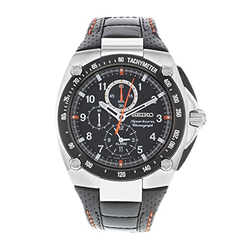 Stainless Steel Sportura Alarm Chronograph Black Dial Strap by Seiko Watches