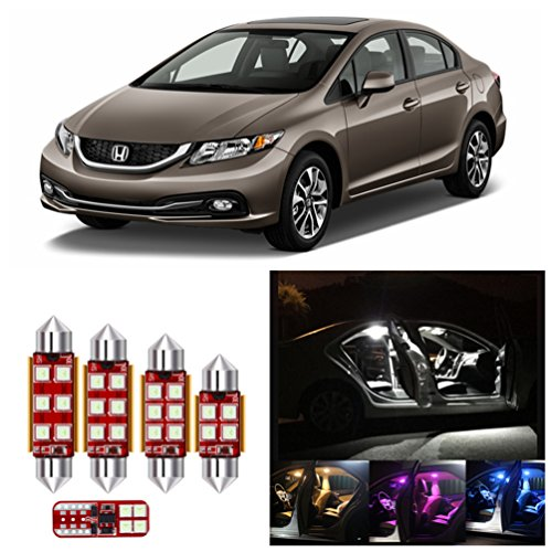 IRONSKY 8pcs Super Bright LED Light Bulbs Interior Package Kit For 2006-2012 Honda Civic Map Dome License Plate Lamp (Pinlk Purple)