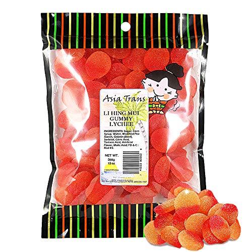 Asia Trans Lychee Gummies with Li Hing Mui Plum Powder | Hawaiian Favorite | Sweet & Sour Soft Gummy Candy